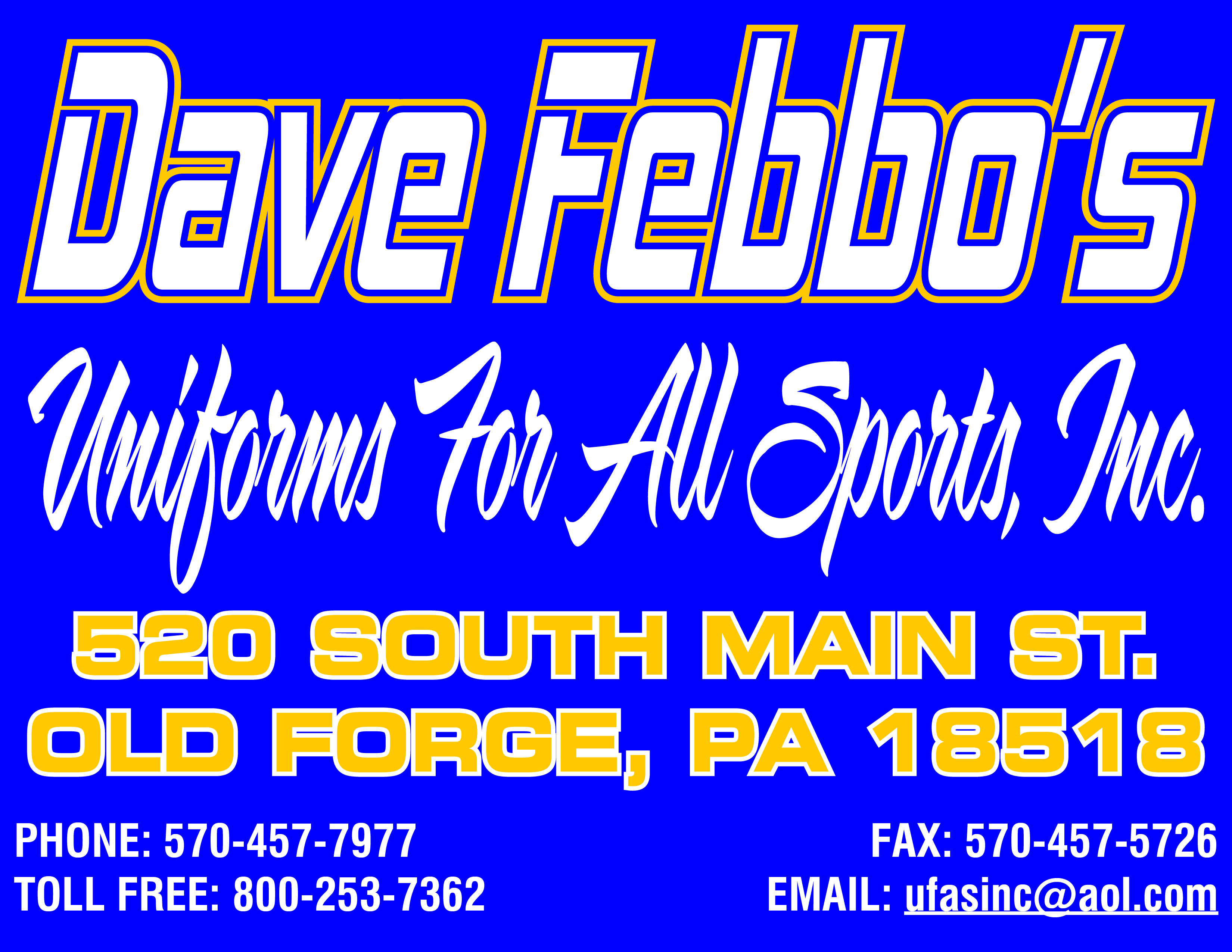 Dave Febbo's Sporting Goods - Call us at 570 457 7977